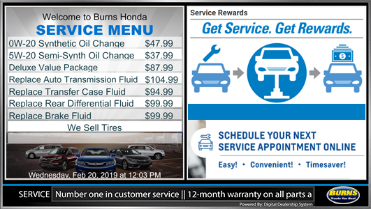 honda digital service menu board