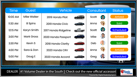 honda sales appointment digital sign